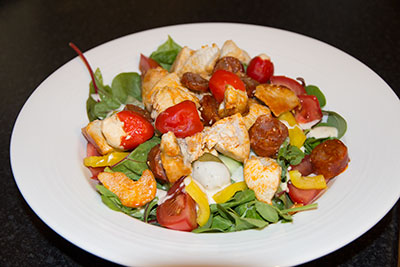 low carb Chicken and Chorizo salad